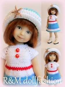 """R&M DOLLFASHION OOAK SEA LINE set outfit for EFFNER 8"""" Heartstring doll"""