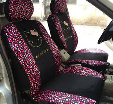 10pc. Hello Kitty Pink Red Hearts Universal Interior Car Seat Cover Set