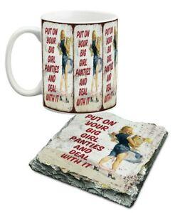 10 oz saucy pants porcelain mug and slate coaster set