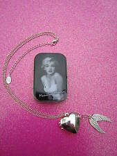 Guardian Angel Dangle Heart Locket With Angel Wing Dangle Necklace With Marilyn