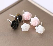 6/8/10mm 925 Sterling Silver Mother of Pearl Rose Flower Stud Earrings Gift Box