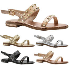 Ladies Womens Flats Strap Party Comfy Open Toe Studded Summer Sandals Shoes Size