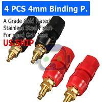 4X Gold Plated Audio Speaker Terminal 4mm Binding Post Banana Jack Plug B122