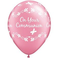 Pack of 6 First Communion Pink Latex Print Helium Quality Balloons  New & Sealed