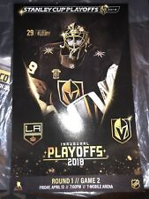 VEGAS GOLDEN KNIGHTS POSTER STANLEY CUP GAME 2 Fluery 4-13-2018 MINT