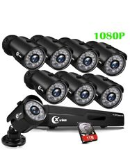 8CH 1080P Security Camera System Outdoor with 1TB Hard Drive