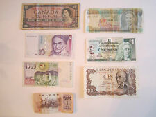 6 VINTAGE CURRENCY NOTES - CANADA, SCOTLAND STERLING POUND, SPAIN, BARABADOS