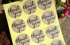 60 x Kraft THANK YOU Sticker Round Labels for Jar Bomboniere Party Gift Favours