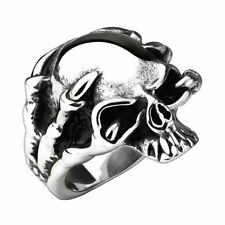 Biker Rocker Men's Ring Dragon Claw Skull Stainless Steel Silver IP Solid
