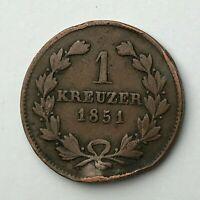 Dated : 1851 - German States - Baden Kreuzer - One Kreuzer - Leopold I