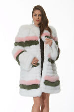 White Multi-Color Real Fox Fur Jacket Stroller for Women