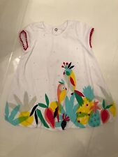 CATIMINI BABY GIRLS WHITE PARROT PRINT JERSEY COTTON PLAYSUIT / ROMPER- 9 MONTHS