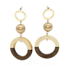 "Ring Stud chandelier Earrings Eh1850 2.8""*1.3""Gold Plated Acrylic Pearl Wood"