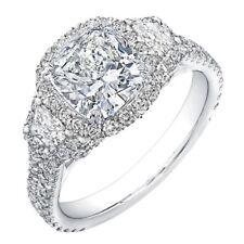 GIA Certified Cushion Cut Diamond Engagement Ring 2.50 Carat Platinum