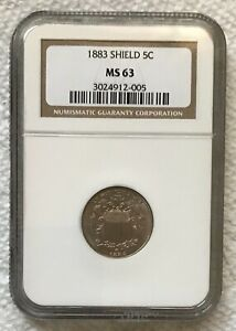 1883 Shield 5 Cent Nickel NGC MS63 *Beautiful Rare Coin*