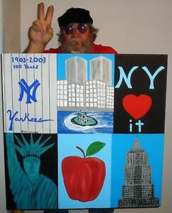 NEW YORK BIG APPLE STATUE OF LIBERTY  EMPIRE STATE BUILDING TWIN TOWERS folk art