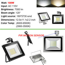 10W 20W 30W 50W 100W LED Flood Light PIR Motion Sensor Outdoor Waterproof Lamp