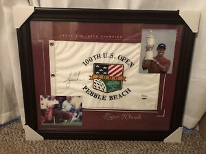 Tiger Woods autographed Flag - 100th Us Open 2000 (Pebble Beach) Upper Deck Cert