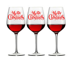 6 X MERRY CHRISTMAS WINE GLASS DECAL LOGO WINDOW XMAS other colours available