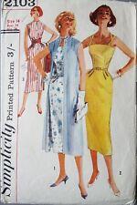 50s Vintage Abito A Matita & Cappotto semplicità 2103 Sewing Pattern Busto 34