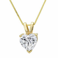 "2.0 ct Heart Cut Solid 14K Yellow Gold Solitaire Pendant Necklace +16"" Chain"