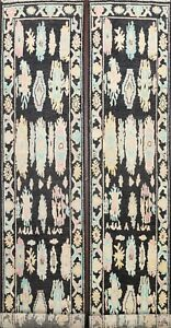 Pair of 2 Vegetable Dye Geometric Floral Black Oushak Handmade Runner Rug 3'x13'