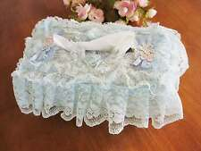 Lovely Flower Embroidery Sheer Lace Tissue Box Cover Blue