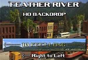 "Train Junkies HO  Feather River Mtns Model Railroads Background R2L  120""X18"""