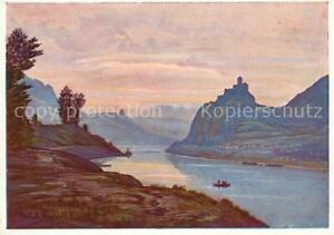 73127201 Aussig_Tschechien Burg Schreckenstein im Elbtal Kuenstlerkarte Hirsch A
