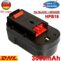 Akku Für Black & Decker HPB18 18V HPB18-OPE A18E 244760-00 FS180BX Ni-MH 3000mAh