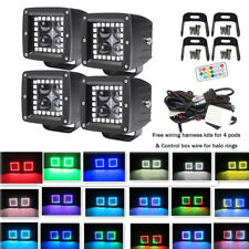 "4X 4D CREE Led Work Light Square 3"" Cubes Pods with RGB Halo Multicolor Change"