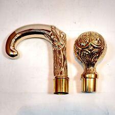 Set Of 2 Pcs Brass Walking Stick'S Head Designer Victorian And Round Cane Handle