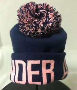 Under Armour Woman's Pom Pom Knit Winter Hat In Blue And Pink. One Size