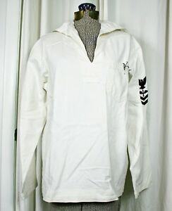 Vintage Men's Canvas White Sailor Navy uniform shirt costume
