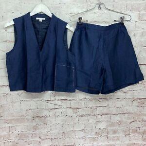 Lunya XS Blue 2 Piece Pajama Set Sleeveless Top Shorts Linen Blend With Silk
