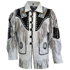 New Men's White Handmade Western American Style Cowboy Leather Jacket Fringes