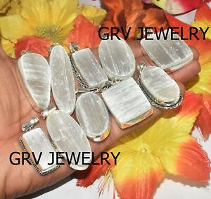 10pcs Selenite Rough Gemstone Pendants Wholesale Lot 925 Silver Overlay wh-42