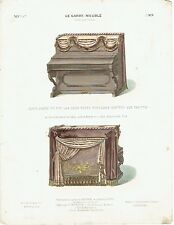 LITHOGRAVURE - Hand-coloured lithograph  LE GARDE-MEUBLE -PIANO DRAPE - GUILMARD
