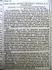 <1862 CIVIL WAR newspaper CONFEDERATES RAISE NEGRO REGIMENT Albert S. Johnston