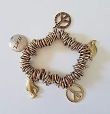Stretch Bangle Bracelet Chunky Gold Copper Tone Rings Peace Dove Charms Metal