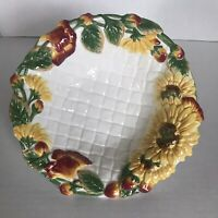 """Fitz & Floyd """"Just Us Chicks"""" 8"""" Serving Bowl Sunflower Basket Weave Country"""