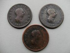 King George III - Three 1807 Copper Half Penny Coins. Reference Spink 3781.