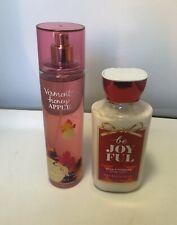 Bath & Body Works Vermont Honey Apple Mist & Be Joyful Body Lotion 90% Full