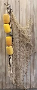 Four Authentic Used Fishing Net Floats Buoys on Rope -Old Vintage Nautical Decor