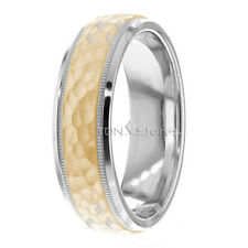 14K SOLID GOLD MENS HAMMERED WEDDING BANDS WOMENS MANS WEDDING BANDS RINGS MENS