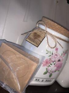 """Vintage White & Pink Floral Ceramic Jar Cork Lid """"MR & MRS"""" EST 2020 Wishes Jar"""