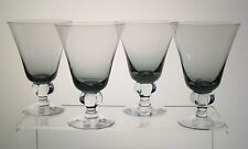 "ASTRID SMOKE SWEDISH CRYSTAL Water Goblets 5 1/4"", Mid Century Modern, SET of 4"