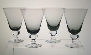 "ASTRID SMOKE SWEDISH CRYSTAL Water Goblets 5 1/4"", Mid Century Modern, SET of 4"