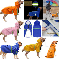 Pet Dog Waterproof Lightweight Reflective Raincoat Puppy Jacket Rain Hoodie Coat