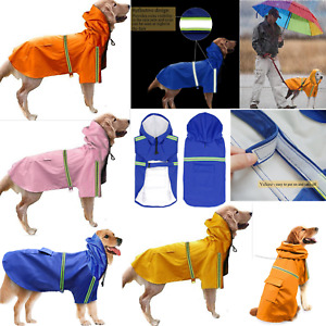 Pet Dog Waterproof Lightweight Reflective Raincoat Puppy Jacket Rain Hoodie Coat